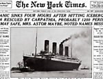 Foto do New York Times mostra capa da edio sobre o naufrgio; Titanic afundou em 15 de abril de 1912, aps colidir com um iceberg