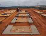 Workers build temporary houses at Belo Monte, in Altamira, Par�