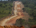 "Machines work at ""travess�o 27"", an access that is being constructed to connect Tranzamazonica higway and Belo Monte hydropower plant dam, in Xingu river, Par�"