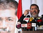 Mohammed Mursi, candidato da Irmandade Muulmana, d coletiva de imprensa no Cairo