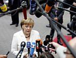 A chanceler alem, Angela Merkel, conversa com a imprensa em Bruxelas Leia mais