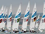 Foto mostra o incio da regata na categoria Laser Laser Veja o especial dos Jogos Olmpicos 