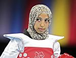 Sanaa Atabrour, do Marrocos, antes de luta na categoria at� 49 kg do taekwondo