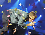 Chris Martin, vocalista do Coldplay, durante apresentao da banda em Varsvia, na Polnia