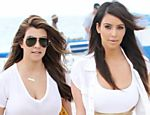 "Kim Kardashian filma seu novo show ""Kourtney and Kim Take Miami"", em Miami, na Florida (EUA)"
