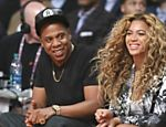Beyonc� e Jay-Z assiste ao jogo NBA All-Star, em Houston, nos Estados Unidos