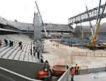 Photo taken in August 2013 shows the construction site of Arena da Baixada in Curitiba, Brazil