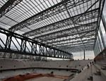 Photo taken on Dec. 14, 2013 shows the construction site of Arena da Baixada in Curitiba, Brazil
