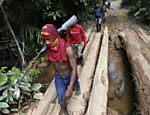 Ka'apor Indian warriors hike during a jungle expedition to search for and expel loggers from the Alto Turiacu Indian territory, near the Centro do Guilherme municipality in the northeast of Maranhao state in the Amazon basin