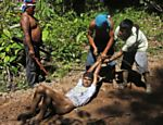 Ka'apor Indian warriors tie up and remove the pants of a logger during a jungle expedition to search for and expel loggers from the Alto Turiacu Indian territory, near the Centro do Guilherme municipality in the northeast of Maranhao state in the Amazon basin