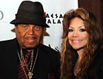 "ORG XMIT: GB2183 Joe Jackson and his daughter La Toya Jackson pose as they attend the launch of the new fragances, ""Jackson tribute"" for men and ""Jackson Legend"" for women, in Las Vegas, Nevada, on June 9, 2011. Joe Jackson partnered with  French perfumer Julian Rouas to create a perfume in remembrance of his late son, Pop star, Michael Jackson. AFP PHOTO / GABRIEL BOUYS"