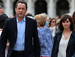 "Tom Hanks  and Felicity Jones in San Marco square for the movie ""Inferno"" of Dan Brown"