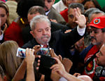 Lula após cerimônia de posse do ex-presidente como novo ministro da Casa Civil, no Palácio do Planalto