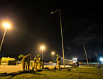 Laborers are working 24 hours per day to finish Rio-2016 work that is behind schedule. In the middle of a dark kilometer section in the 15 C degree cold, laborers depend on a floodlight to help speed up the delivery of the new BRT (Bus Rapid Transit) system from Transolímpica