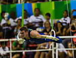 Not paying attention to incomplete infrastructure and poor management, athletes competed in test events in the Olympic park. In ring mode, Brazilian Arthur Zanetti takes the gold medal