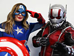 People in super hero costumes pose for a portrait at the London Film and Comic Con in London, Britain July 30, 2017. REUTERS/Neil Hall ORG XMIT: NGH05