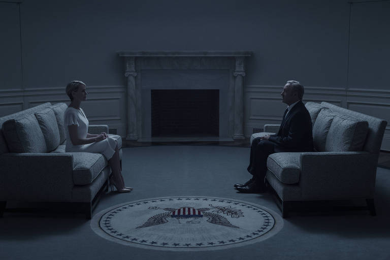 "Robin Wright e Kevin Spacey como Claire e Frank Underwood no sexto episódio da quarta temporada de ""House of Cards"""