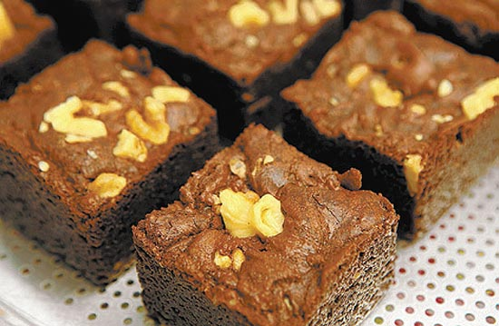 Loja The Brownie Shop serve 15 op��es de brownies (foto), mais altos e menos untuosos que o comum