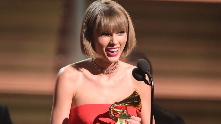 Taylor Swift discursa no Grammy, em Los Angeles