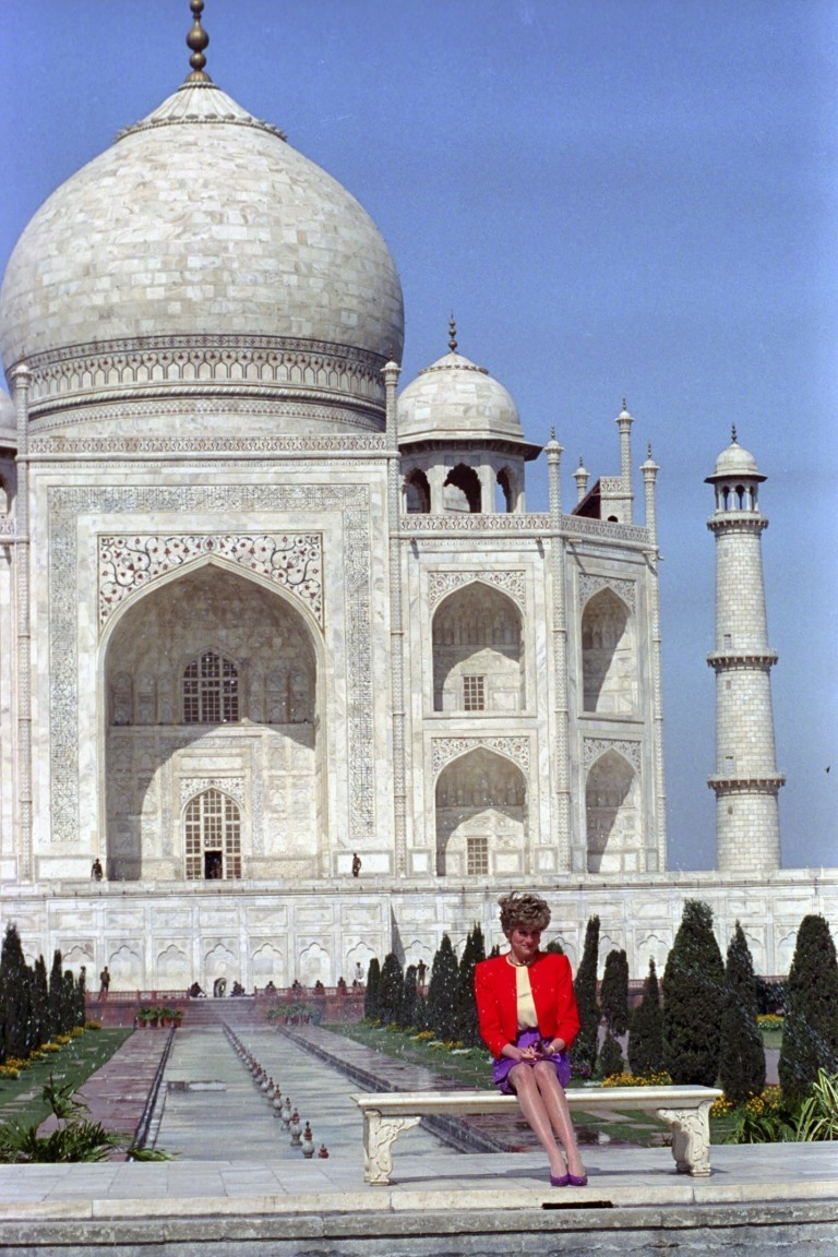 File photograph of Diana, Princess of Wales sitting in Front of the Taj Mahal in Agra