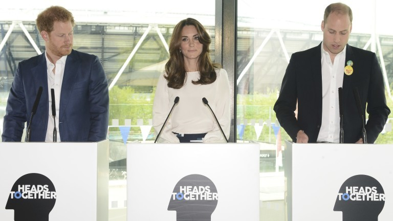 Britain's (L-R) Prince Harry, Kate, the Duchess of Cambridge and Prince William  attend a Heads Together mental health campaign launch in Stratford, East London