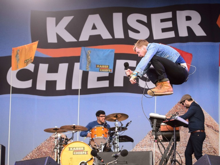 British rock group The Kaiser Chiefs perform on the Other Stage, on the first official date of the Glastonbury Festival of Music and Performing Arts on Worthy Farm in Somerset, south west England, on June 27, 2014. AFP PHOTO / LEON NEAL ORG XMIT: LSN1402