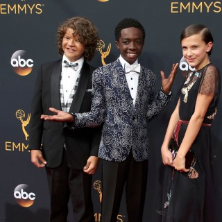 Actors Gaten Matarazzo (L), Caleb McLaughlin and Millie Bobby Brown from the Netflix series
