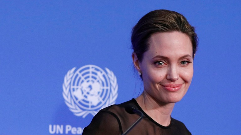 UN Special Envoy Angelina Jolie smiles, during the UN Peacekeeping Defence Ministerial at Lancaster House in London, Thursday Sept. 8, 2016. (Adrian Dennis/PA via AP) ORG XMIT: LON815