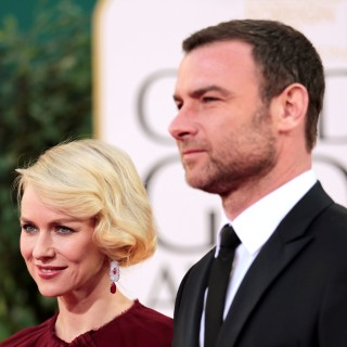 "Actress Naomi Watts of the film ""The Impossible"" and her husband, actor Liev Schreiber at the 70th annual Golden Globe Awards in Beverly Hills"
