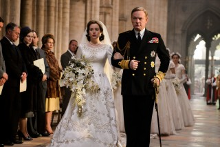 This image released by Netflix shows Claire Foy, left, and Jared Harris in a scene from,