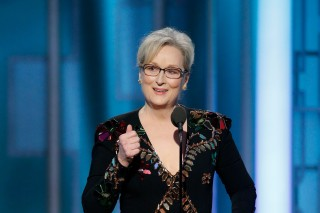 This image released by NBC shows Meryl Streep accepting the Cecil B. DeMille Award at the 74th Annual Golden Globe Awards at the Beverly Hilton Hotel in Beverly Hills, Calif., on Sunday, Jan. 8, 2017. (Paul Drinkwater/NBC via AP) ORG XMIT: NYET749