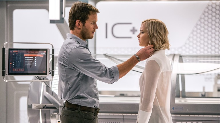 In the Infirmary, Jim (CHRIS PRATT) and Aurora (JENNIFER LAWRENCE) realize they have limited options in Columbia Pictures' PASSENGERS. ORG XMIT: Chris Pratt (Finalized); Jennifer Lawrence (Finalized)