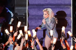 HOUSTON, TX - FEBRUARY 05: Lady Gaga performs during the Pepsi Zero Sugar Super Bowl 51 Halftime Show at NRG Stadium on February 5, 2017 in Houston, Texas.   Bob Levey/Getty Images/AFP == FOR NEWSPAPERS, INTERNET, TELCOS & TELEVISION USE ONLY ==