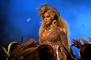 LOS ANGELES, CA - FEBRUARY 12: Recording artist Beyonce performs onstage during The 59th GRAMMY Awards at STAPLES Center on February 12, 2017 in Los Angeles, California.   Kevork Djansezian/Getty Images/AFP == FOR NEWSPAPERS, INTERNET, TELCOS & TELEVISION USE ONLY ==