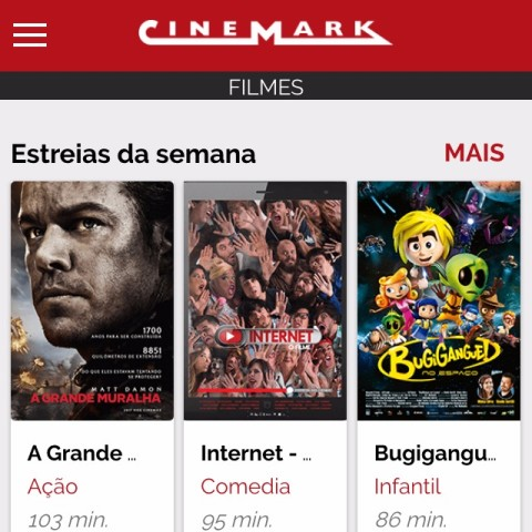 Tela inicial do aplicativo do Cinemark para iPhone ***  ****