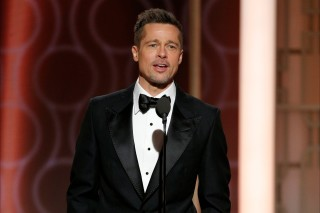 This image released by NBC shows presenter Brad Pitt at the 74th Annual Golden Globe Awards at the Beverly Hilton Hotel in Beverly Hills, Calif., on Sunday, Jan. 8, 2017. (Paul Drinkwater/NBC via AP) ORG XMIT: NYET779
