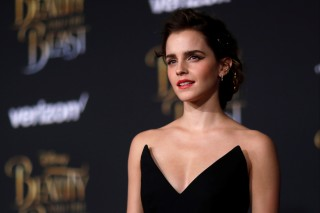 "Cast member Watson poses at the premiere of ""Beauty and the Beast"" in Los Angeles"