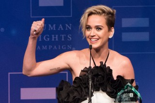 Recording artist Katy Perry speaks on stage during The Human Rights Campaign (HRC) Los Angeles Gala honoring Equality Champions Katy Perry and America Ferrera on March 18, 2017, In Los Angeles, California. / AFP PHOTO / VALERIE MACON ORG XMIT: 01