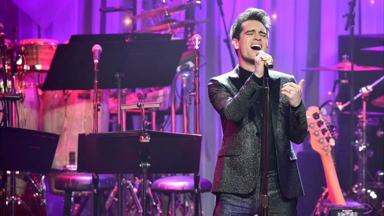Vocalist Brendon Urie of Panic! at the Disco performs during the annual Clive Davis pre-Grammy gala at the Beverly Hilton Hotel on February 11, 2017. The annual Clive Davis pre-Grammy gala, presented