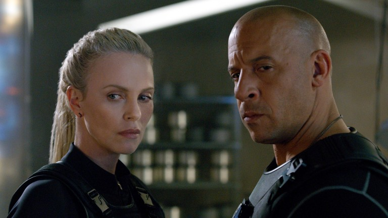 "This image released by Universal Pictures shows Charlize Theron, left, and Vin Diesel in ""The Fate of the Furious."" (Universal Pictures via AP) ORG XMIT: NYET649"
