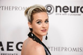 Singer Katy Perry poses at Elton John's 70th Birthday and 50-Year Songwriting Partnership with Bernie Taupin benefiting the Elton John AIDS Foundation and the UCLA Hammer Museum at RED Studios Hollywood in Los Angeles