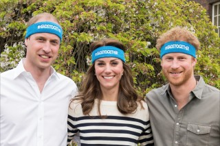 Undated handout  photo of Britain's  Prince William, left, Kate Duchess of Cambridge and Prince Harry wearing charity headbands  issued by The Royal Foundation of the Duke and Duchess of Cambridge and Price Harry. The three royals  are spearheading a campaign to encourage people to talk openly about mental health issues. The young royals released 10 films Thursday as part of their Heads Together campaign to change the national conversation on mental health.  (The Royal Foundation of the Duke and Duchess of Cambridge and Price Harry via AP) ORG XMIT: LON112