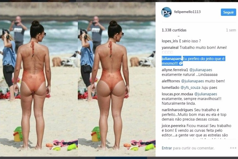 Internauta editou o corpo de Juliana Paes no Photoshop
