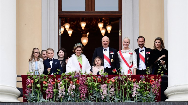 From left, Norway's Leah Isadora Behn, Princess Ingrid Alexandra, Prince Sverre Magnus, Maud Angelica Behn, Queen Sonja, Emma Tallulah Behn, King Harald, Crown Princess Mette-Marit, Crown Prince Haako