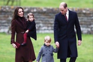 Britain's Prince William and Kate, the Duchess of Cambridge with their children Prince George and Princess Charlotte arrive to attend the morning Christmas Day service at St Mark's Church in Englefield, England, Sunday Dec. 25, 2016. A heavy cold is keeping Queen Elizabeth II from attending the traditional Christmas morning church service near her Sandringham estate in rural Norfolk, England. (Andrew Matthews/PA via AP) ORG XMIT: LON803 *** ****