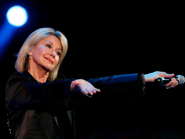 (FILES) This file photo taken on February 23, 2017 shows British-Australian singer Olivia Newton-John performing at the 58th Vina del Mar International Song Festival in Vina del Mar, Chile. Singing gr