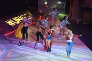 Singer Bebe Rexha and dancers introduce the latest version of the game Just Dance during the Ubisoft E3 Conference at the Orpheum Theater in Los Angeles, California on June 12, 2017.  / AFP PHOTO / FREDERIC J. BROWN