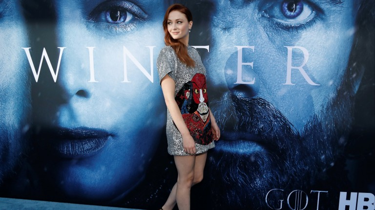 "Sophie Turner, a Sansa Stark, no evento de gala do lançamento da nova temporada de ""Game of Thrones"" em Los Angeles"