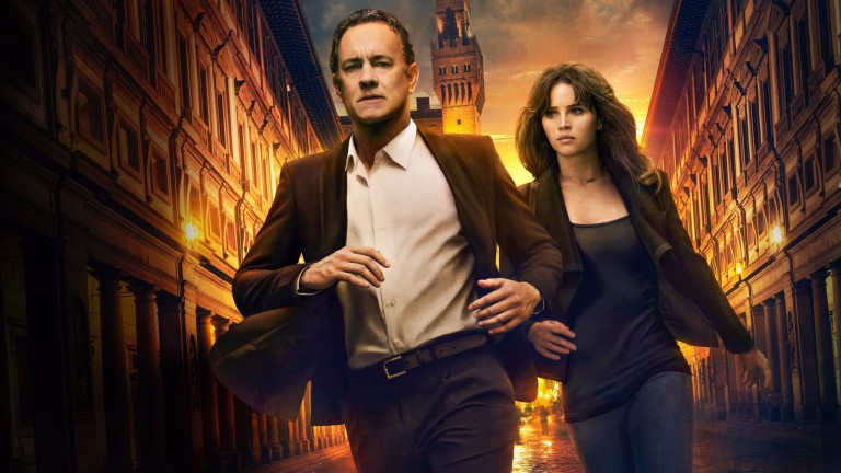 "Os atores Tom-Hanks e Felicity Jones no filme ""Inferno"""
