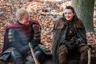 This image released by HBO shows Ed Sheeran, left, and Maisie Williams in a scene from
